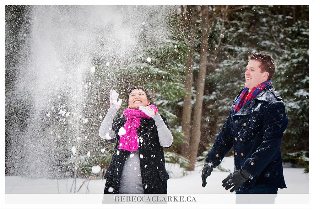 Veronica & Nigel - snow fight